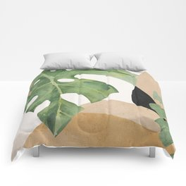 Abstract Art Tropical Leaves 3 Comforters