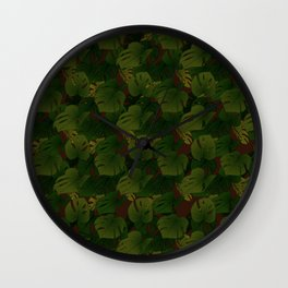 Monstera (Jungle) - Olive x Chocolate Wall Clock