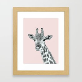 Cute Pink Giraffe Framed Art Print