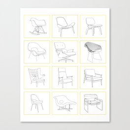 Mid Century Chairs Canvas Print