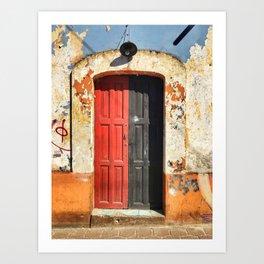 Door, Half Red, Half Black (San Cristóbal de las Casas, Chiapas, Mexico) Art Print