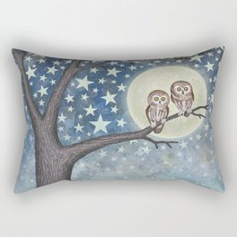 northern saw whet owls under the stars Rectangular Pillow