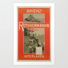 cartellone brienz rothhorn bahn und hotel bei interlaken brienz Art Print
