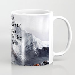 All the world's Great Journeys Motivational Tibetan Proverb With Panoramic View Of Everest Mountain Coffee Mug