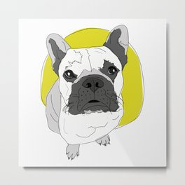 Frenchie Dog-The Sun Will Come Out Metal Print