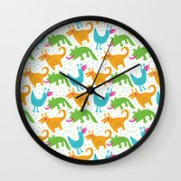 monsters Wall Clocks featuring monsters by LOLIA-LOVA