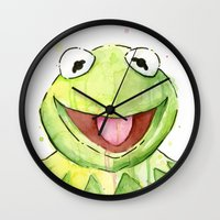 kermit Wall Clocks featuring Kermit Portrait by Olechka