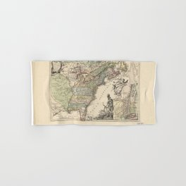 Vintage Map Print - French Map of the American War of Independence (1777) Hand & Bath Towel