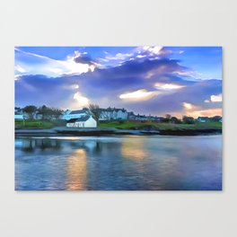 Cockle Row Cottages, Ireland. (Painting) Canvas Print