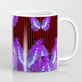 CONTEMPORARY LILAC PURPLE BUTTERFLIES  & STRIPES Coffee Mug