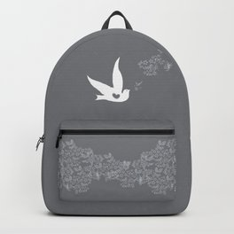 Wings of Love - Silver & Grey Backpack