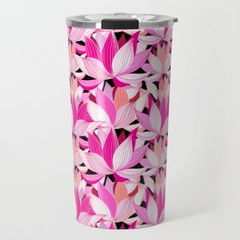 vector seamless pattern beautiful pink lotus flowers on a black background Travel Mug