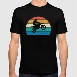 Motocross, Dirt Bike Rider, Striped Sunset T-shirt