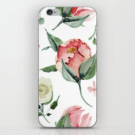 Pink White Peony Roses Watercolor Floral Pattern iPhone Skin