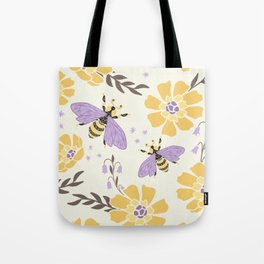 Honey Bees and Flowers - Yellow and Lavender Purple Tote Bag
