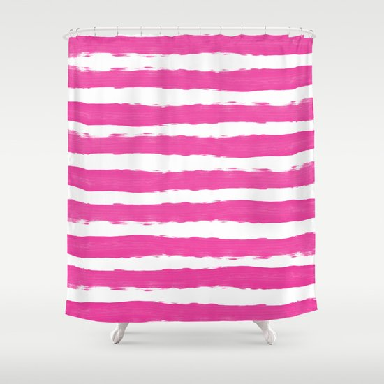 Simple Pink And White Handrawn Stripes Horizontal For Your Summer On Soc