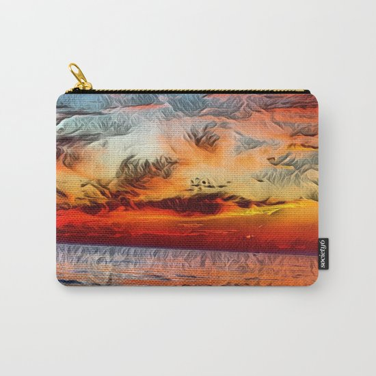 Great Lake Michigan Romantic Sunset (Painting) Carry-All Pouch