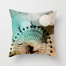 Pastel bokeh blue ferris wheel Throw Pillow