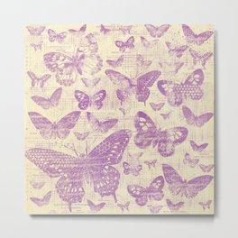 purple, vintage, butterflies, parchment Metal Print