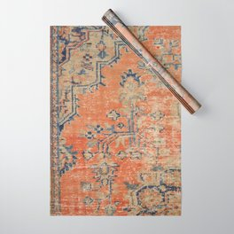 Vintage Woven Navy and Orange Wrapping Paper