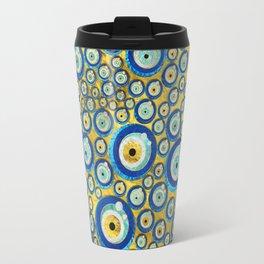 Greek Blue Glass Evil Eye Amulet Pattern Travel Mug