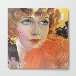 Retro Lady in Orange with a Smile Metal Print