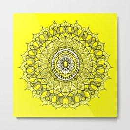 Yellow Sunshine Bohemian Mandala Metal Print