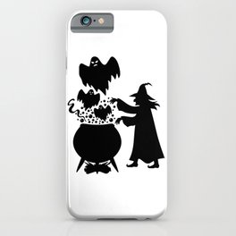 Halloween witch, spooky ghost from tank, black silhouette art iPhone Case
