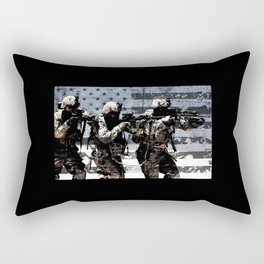 3 Soldiers & US Flag Rectangular Pillow