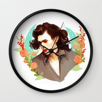 harry styles Wall Clocks featuring Harry Styles by chazstity