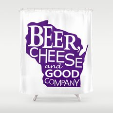 Purple and White Beer, Cheese and Good Company Wisconsin Graphic Shower Curtain