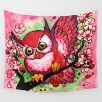 jojo Wall Tapestries featuring Cherry Owl by JoJo Seames