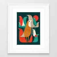 gold Framed Art Prints featuring Flock of Birds by Picomodi