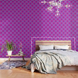 Geometric Floral Circles Vibrant Color Challenge In Bold Purple Pink Orange & Blue Wallpaper
