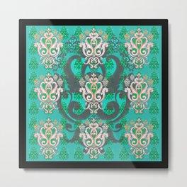 Boujee Boho Aqua Radiance Trefoil Metal Print