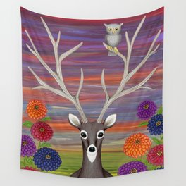 white tailed deer, owl, zinnias Wall Tapestry