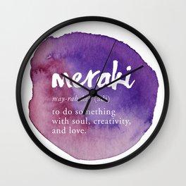 Meraki Word Nerd Definition - Purple Watercolor Wall Clock
