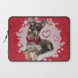 Cute Schnauzer on Hearts Pattern Laptop Sleeve