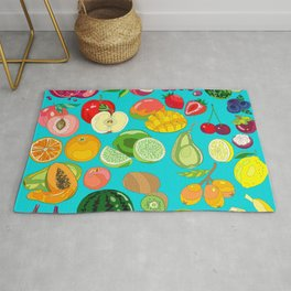 Fruits Paradise in Turquoise Blue Rug