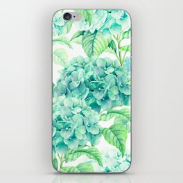Hand painted green watercolor hydrangea floral pattern iPhone Skin