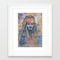 jack sparrow Framed Art Prints featuring Jack Sparrow by Nicola Girello