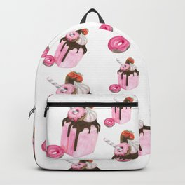 Strawberry milkshake,Pink milkshake,Donuts,Sweets art,Watercolor art,Pink art,Dessert Backpack