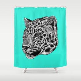 Amur leopard cub - turquoise - big cat Shower Curtain