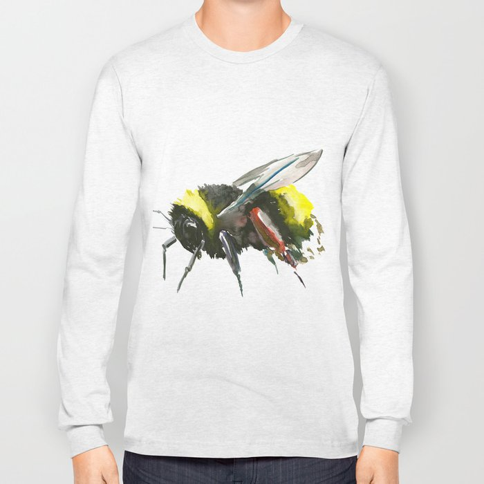 Bumblebee, minimalist bee honey making art, design black yellow Long Sleeve T-shirt