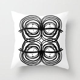 Abstract brushstrokes india ink free sprit boho painting swirl circle enso bullseye black and white Throw Pillow