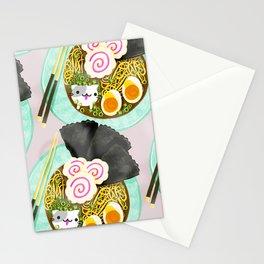 Ramen Cats Pattern Stationery Cards