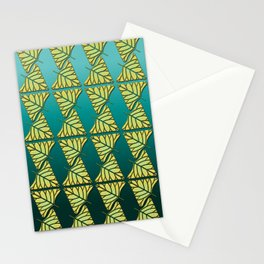 Chartreuse Leaf Triangles Ombre Teal Stationery Cards