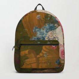 Jacobus Linthorst - Een vaas met bloemen op een marmeren blad Backpack