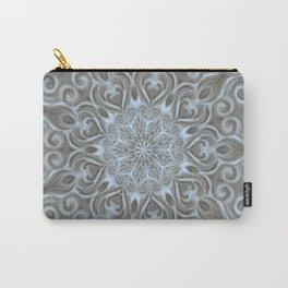 Light Blue Center Swirl Mandala Carry-All Pouch
