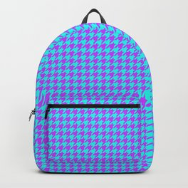 Lilac Blue Houndstooth Pattern Backpack